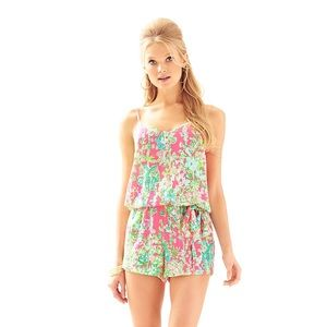 Lilly Pulitzer Deanna Romper in Flamingo Pink